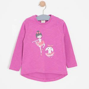 Kız Çocuk Nota Defteri Tişört Fuşya (3-12 yaş)