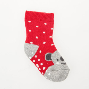Kız Bebek Altı Kaydırmaz Havlu Çorap Kırmızı (17-22 numara)