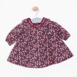 Kız Bebek Uzun Kol Elbise Vişne (0-2 yaş)