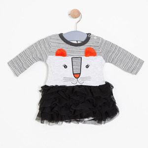 Kız Bebek Badili Elbise Açık Gri Melanj (0-2 yaş)