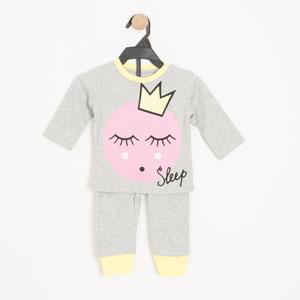 Kız Bebek Pijama Takımı Gri Melanj (0-2 yaş)