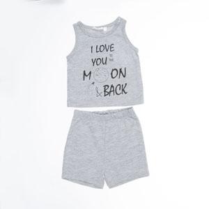 Erkek Bebek Pijama Takımı Gri Melanj (56 cm-2 yaş)
