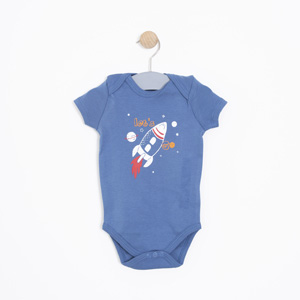 Erkek Bebek Kısa Kol Badi İndigo (0-2 yaş)