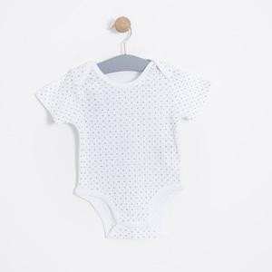 Erkek Bebek Kısa Kol Badi Beyaz (0-2 yaş)