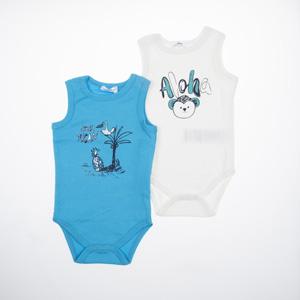 Erkek Bebek Kısa Kol Badi Set Turkuaz (0-2 yaş)