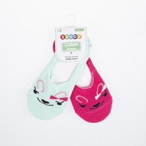 Kız Çocuk İkili Babet Çorap Pembe (23-34 numara)