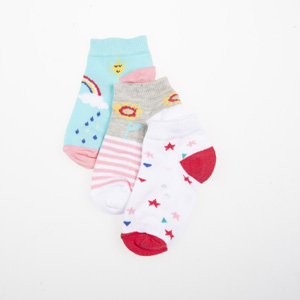 Kız Çocuk Üçlü Çorap Beyaz (23-34 numara)