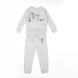 Kız Çocuk Pijama Takımı Bej Melanj (3-12 yaş)