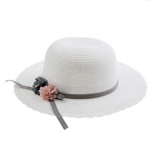 Kız Çocuk Hasır Şapka Beyaz (3-8 yaş)