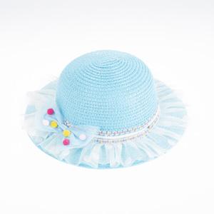 Kız Çocuk Hasır Şapka Mavi (3-8 yaş)