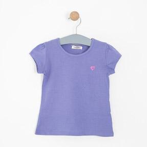 Kız Çocuk Kısa Kol Tişört Mor (3-12 yaş)