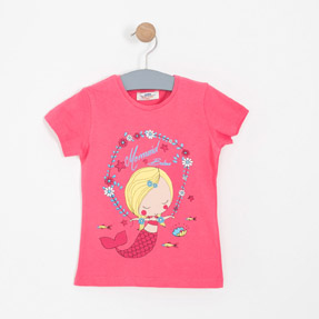 Kız Çocuk Kısa Kol Tişört Pembe (3-7 yaş)