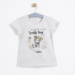 Kız Çocuk Kısa Kol Tişört Bej Melanj (3-12 yaş)