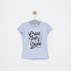 Kız Çocuk Kısa Kol Tişört Mavi (3-12 yaş)