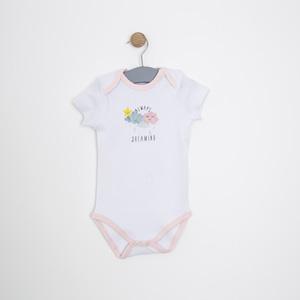 Kız Bebek Kısa Kol Badi Beyaz (0-2 yaş)