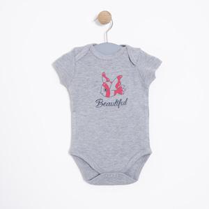 Kız Bebek Kısa Kol Badi Gri Melanj (0-2 yaş)