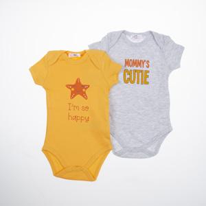 Kız Bebek Kısa Kol Badi Set Sarı (0-2 yaş)