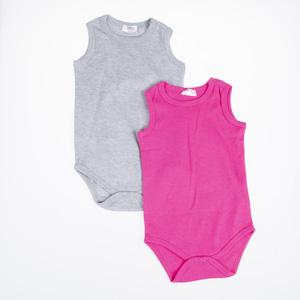 Kız Bebek Kısa Kol Badi Set Gri Melanj (0-2 yaş)
