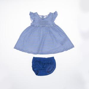 Kız Bebek Elbise Set Saks (0-2 yaş)