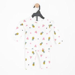 Kız Bebek Pijama Takımı Beyaz (0-2 yaş)