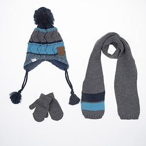 Erkek Çocuk Eldiven Atkı Bere Set Mavi (1-4 yaş)