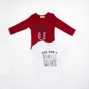 Erkek Bebek Uzun Kol Body Set Kırmızı (3-15 ay)