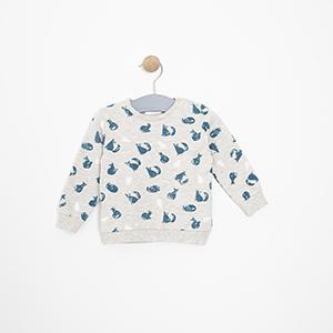 Erkek Bebek Sweatshirt Gri Melanj (3-15 ay)