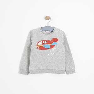 Erkek Bebek Sweatshirt Gri Melanj (9-24 ay)