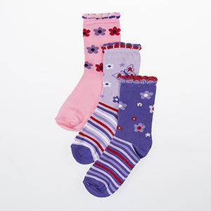 Kız Çocuk Üçlü Bilek Üstü Çorap Lila (23-34 numara)