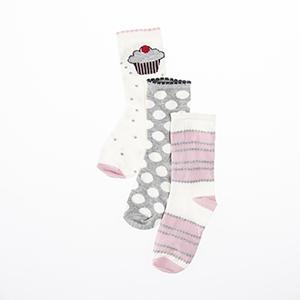 Kız Çocuk Üçlü Bilek Üstü Çorap Beyaz (23-34 numara)