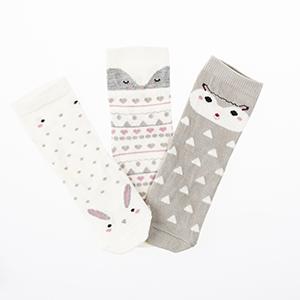 Kız Çocuk Üçlü Bilek Üstü Çorap Ekru (23-34 numara)
