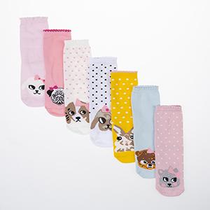 Kız Çocuk Yedili Bilek Üstü Çorap Karışık (23-34 numara)