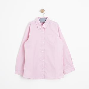 Kız Çocuk Uzun Kol Gömlek Kırık Pembe (3-12 yaş)