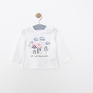 Kız Bebek Uzun Kol Tişört Kırık Beyaz (3-24 ay)
