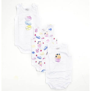 Kız Bebek Üçlü Kolsuz Badi Set Beyaz (0-24 ay)