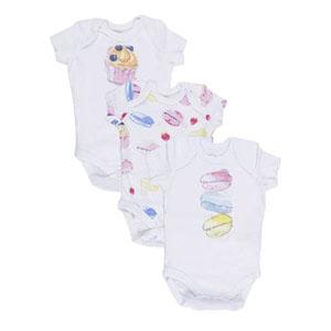 Kız Bebek Üçlü Kısa Kol Badi Set Beyaz (0-24 ay)