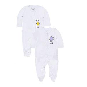 Kız Bebek İkili Tulum Set Beyaz (0-24 ay)
