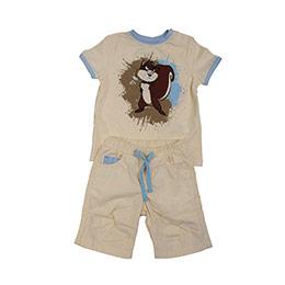 Erkek Bebek Alt Üst Örme Dokuma Set Bej (1-3 yaş)