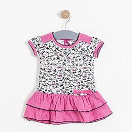 Kız Bebek Kısa Kol Elbise Fuşya (74 cm-3 yaş)