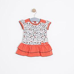 Kız Bebek Kısa Kol Elbise Tarçın (74 cm-3 yaş)