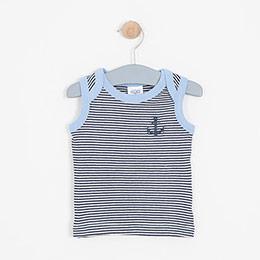 Erkek Bebek Kolsuz Tişört Mavi (56-92 cm)