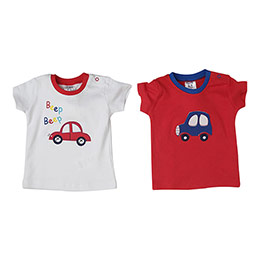 Yenidoğan Erkek İkili Tişört Set Kırmızı (56-92 cm)
