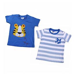 Erkek Bebek Kısa Kol İkili Tişört Set Mavi (56-92 cm)