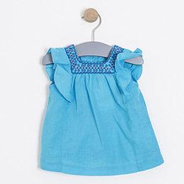 Kız Çocuk Kısa Kol Bluz Turkuaz (74 cm-7 yaş)