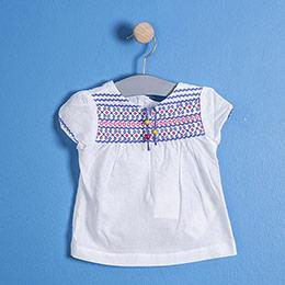Kız Çocuk Kısa Kol Bluz Beyaz (74 cm-7 yaş)