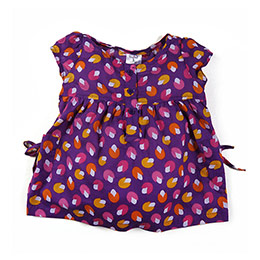 Kız Çocuk Kısa Kol Bluz Koyu Mor (74 cm-7 yaş)