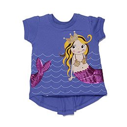 Minik Deniz Kızı Kısa Kol T-Shirt - Parlement (1-7yaş)