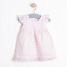 Kız Bebek Elbise Külot Set Toz Pembe (0-2 yaş)