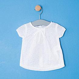Kız Bebek Kısa Kol Tişört Şort Set Beyaz (56 cm- 3 yaş)