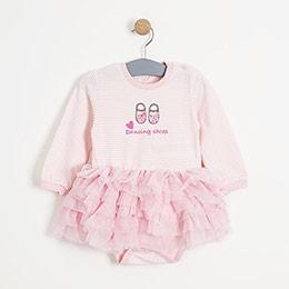 Kız Bebek Uzun Kol Badili Elbise Pembe (0-3 yaş)